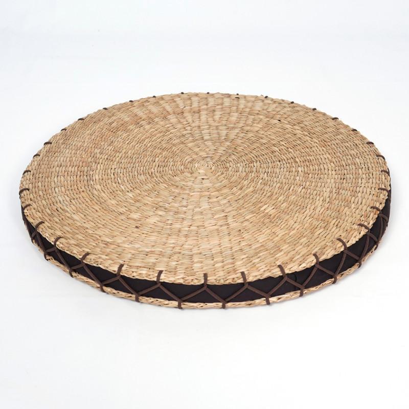 coussin rond zabuton en paille de riz 46 x 4cm. Black Bedroom Furniture Sets. Home Design Ideas
