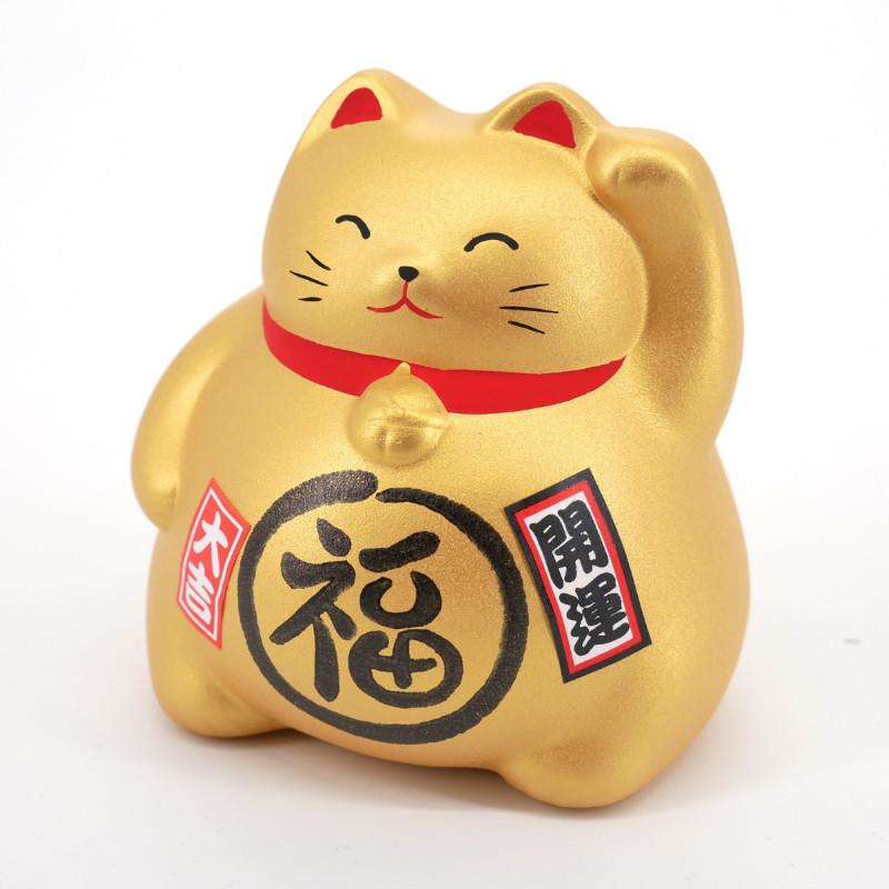 Chat tirelire doré porte-bonheur japonais maneki neko FORTUNE