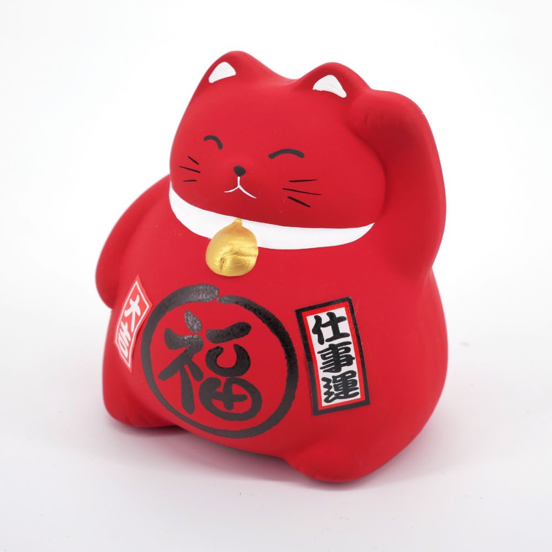 Chat tirelire rouge porte-bonheur japonais maneki neko HEALTH
