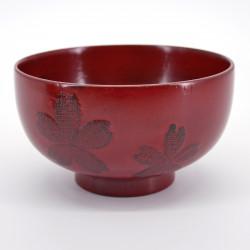 bol en bois rouge motifs fleurs de sakura NEGORO