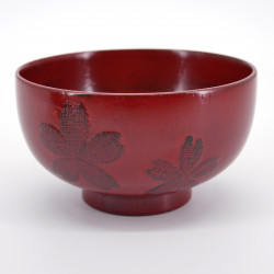 japanese red wooden bowl with sakura flowers patterns NEGORO