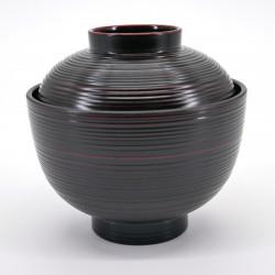 japanese black bowl with lid KOMARU KUROKEN