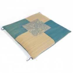 coussin en natte paille de riz motifs carreaux KUSABI 55x55cm