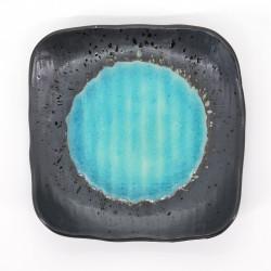 assiette japonaise en céramique carrée bleu clair