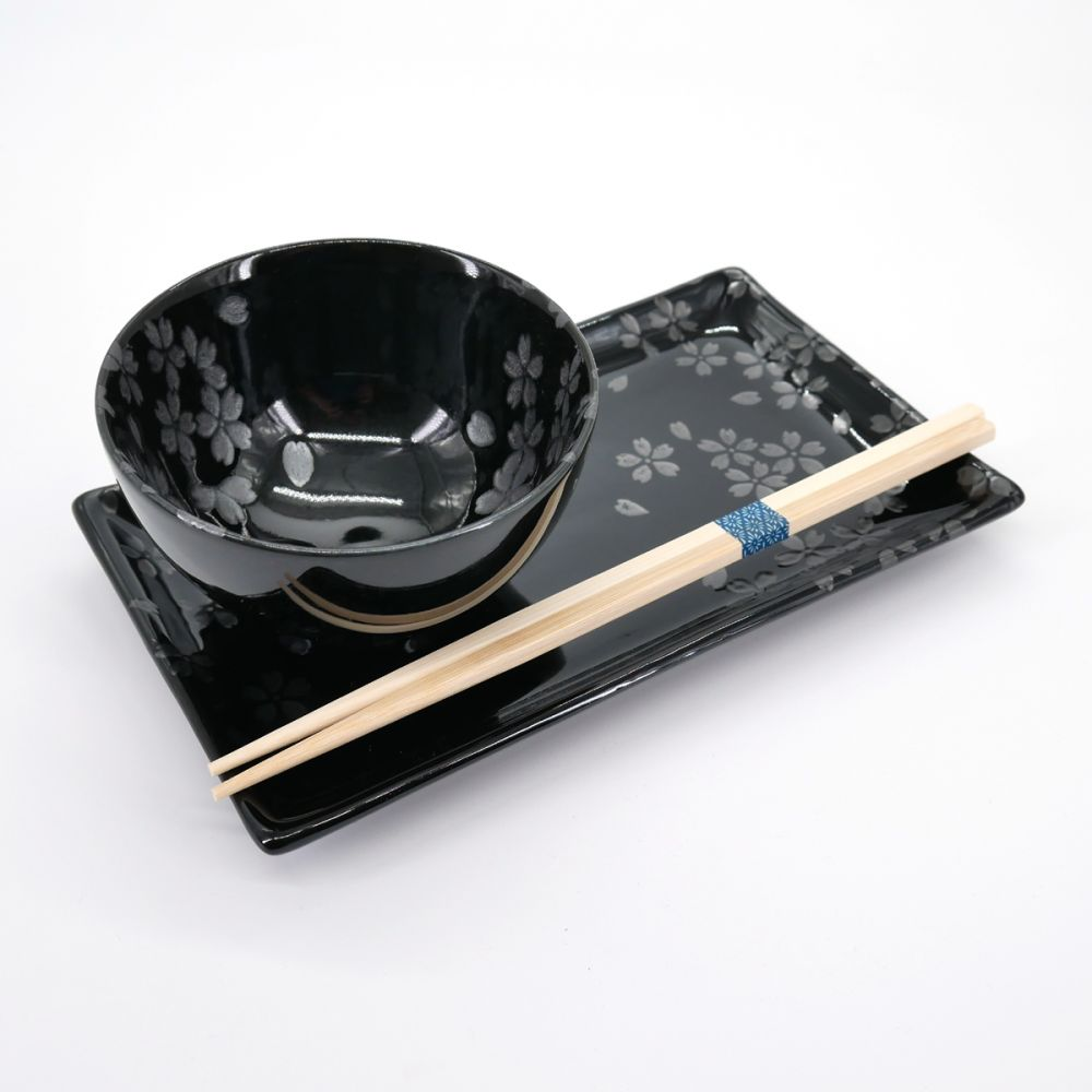 plate bowl and pairs of chopsticks set with silver sakura flower patterns GINSAI SAKURA