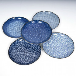 japanese blue patterns round plates set Ø23cm IMAYÔ KOZOME