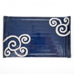 japanese curved rectangular blue plate wave RURI PLATINE ITCHINRYÔ