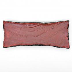 assiette longue rectangulaire noire pinceau rouge 31cm SHUHAKE TENMOKU
