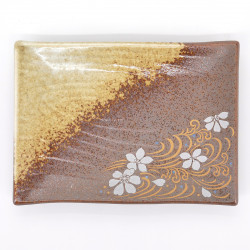 japanese brown rectangular plate with sakura flowers SHINONOME RYÛSUI