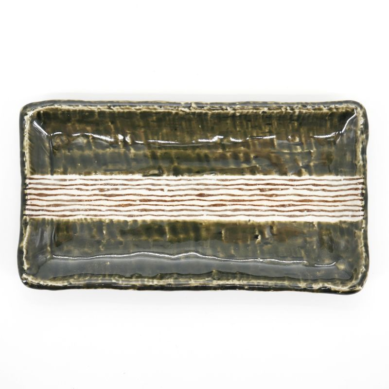 japanese rectangular green and beige lines plate ORIBE