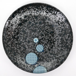 japanese black blue circles Ø25,3cm round plate MARUKOMON