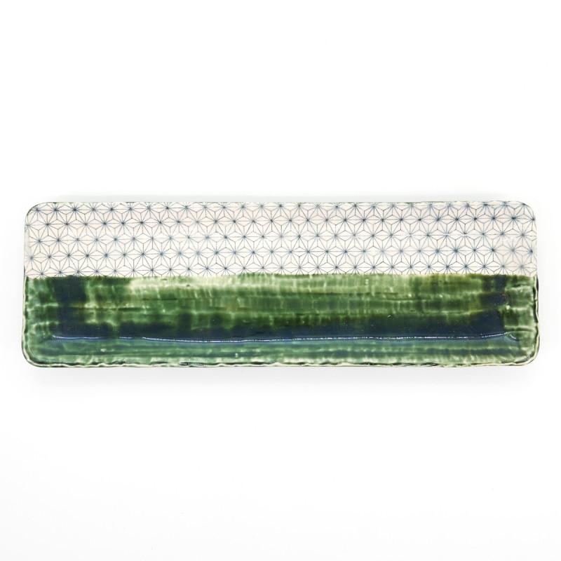 japanese long green rectangular 30cm plate asanoha ORIBE SASHIKO