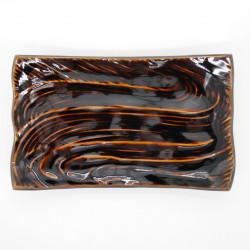 japanese brown 21cm curved rectangular plate CARAMEL RYÛSUIGATA