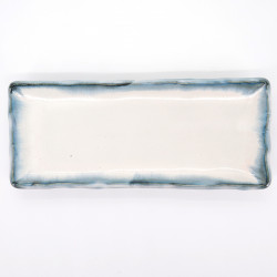 japanese white and blue 29,5cm long rectangular plate AO KASUMI