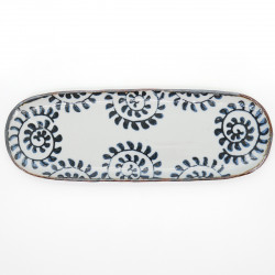white blue patterns 33,5cm long oval plate SHIMITSU TAKO KARAKUSA