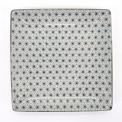 japanese white square plate with sashiko patterns ASANOHA