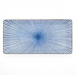 assiette rectangle 23,3cm lignes bleues SENDAN TOKUSA