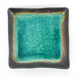 japanese green square plate in ceramic 18x18cm RYOKUSAI