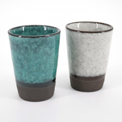japanese turquois and white cups set 8x6cm MINI CUP TORUKO WHITE