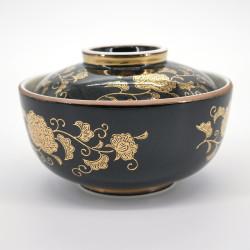 bol noir à couvercle japonais motifs dorés KURO KIN KARAKUSA