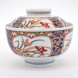 japanese gold flower traditional bowl with lid KINSAI NISHIKI KUSABANA