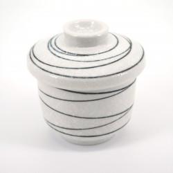 japanese black line white teacup with lid KOHIKI LINE