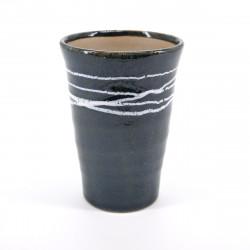 grande tasse 11cm bleue japonaise lignes blanches TENMOKU WHITE LINE