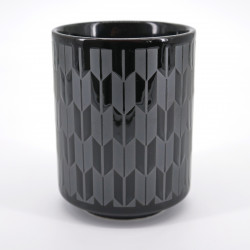 japanese black silver arrow patterns teacup YAGASURI KURO