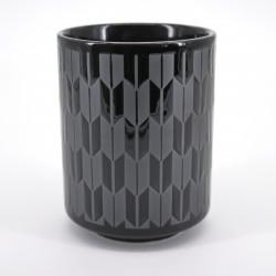 tasse noire motifs flèches japonaises argent YAGASURI KURO