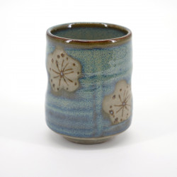 tasse traditionnelle japonaise bleue beige fleurs prune CHRASHI UME