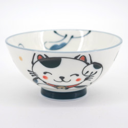 japanese little white manekineko cat bowl Ø10,5cm KURO MANEKINEKO