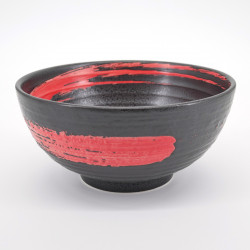 bol japonais noir pinceau rouge SHU ARASHI KUROMIKAGE