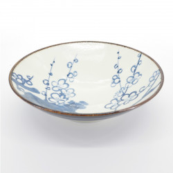 japanese white râmen noodle bowl plum flower patterns KOZOME UME
