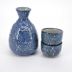 japanese blue bottle and two cups sake set TAKO KARAKUSA