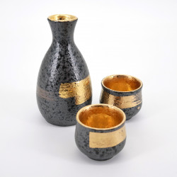 japanese black and gold bottle and 2 cups sake set KUROGANE KIN HAKEME