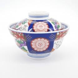 Ciotola in ceramica giapponese con coperchio, SOME NISHIKI MADORI, Arita