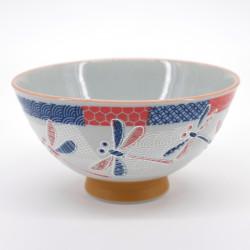 petit bol bleu rouge libellule Ø11,5cm NAKAHIRA ICHIMATSU TOMBO