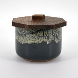 bol noir japonais couvercle en bois YUZU TENMOKU