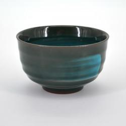 tasse à thé noire japonaise pinceau turquois EMERALD