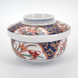 bol blanc à couvercle japonais fleurs dorées KINSAI NISHIKI KUSABANA