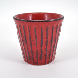 japanese red glass H9,2xØ8,6cm NEGORO SHINOGI
