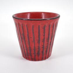 japanese red glass H9,2xØ8,6cm NEGORO SHINOGI
