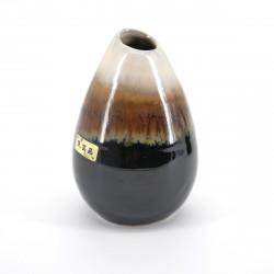 japanese soliflore brown and beige vase H10,1xØ6,4cm MINGEI HANABIN