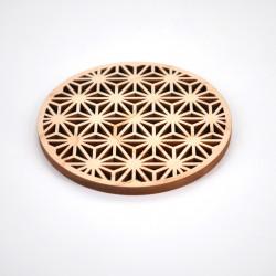 japanese wooden hinoki graven coaster Ø8,8xH0,5cm ASANOHA