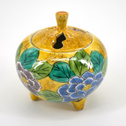 japanese yellow incense burner in ceramic peony YOSHIDAYA KUTANI