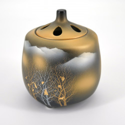 japanese black incense burner in ceramic golden wood Ø9,5xH9cm KINMOKU