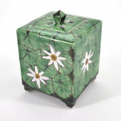 japanese green incense burner in ceramic flower patterns 6,5x6,5xH7,5cm KHYVA