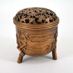 brûle encens en cuivre prunier et bambou Ø9,2xH10,5cm MATSU TAKAOKA