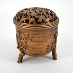 japanese copper brass incense burner plum and bamboo Ø9,2xH10,5cm MATSU TAKAOKA