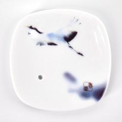 white square incense holder in ceramic dream crane YUME TSURU